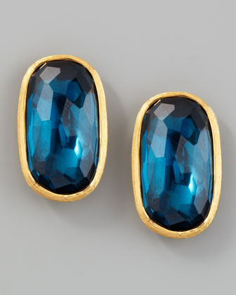 Murano 18k London Blue Topaz Stud Earrings, 20mm