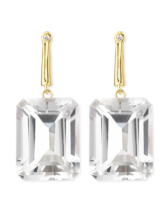 18k Green Gold Georgie Earrings with Rock Crystal & Diamond