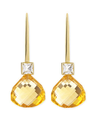 18k Green Gold Gigi Earrings with White Topaz & Citrine Drop