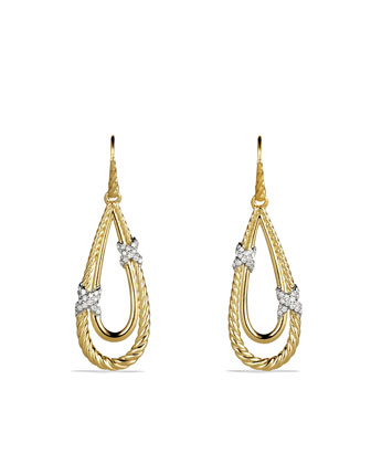 X Drop Earrings with Diamonds in Gold