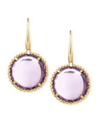 18k Yellow Gold Ipanema Round Amethyst Drop Earrings