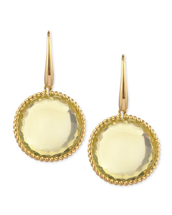 18k Yellow Gold Ipanema Round Lemon Quartz Drop Earrings