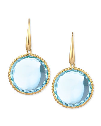 18k Yellow Gold Ipanema Round Blue Topaz Drop Earrings