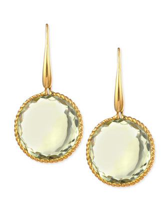18k Yellow Gold Ipanema Round Green Amethyst Drop Earrings