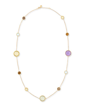 Ipanema 18k Gold Semiprecious Station Necklace, 33