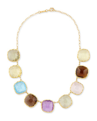 Ipanema 18k Gold Square Semiprecious Necklace