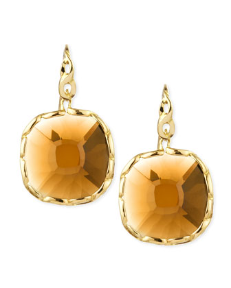 Ipanema 18k Gold Square Citrine Earrings