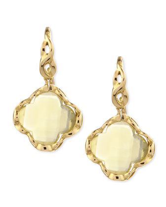 18k Yellow Gold Ipanema Lemon Quartz Clover Earrings