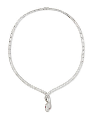 18k White Gold Diamond Snake Necklace