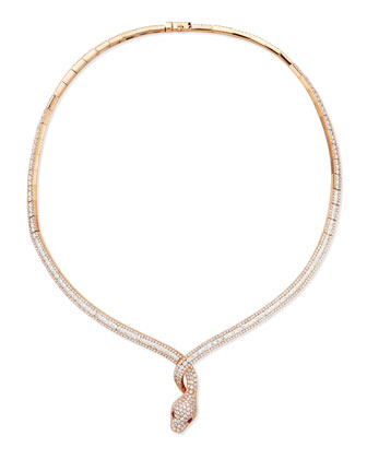 18k Rose Gold Diamond Snake Necklace