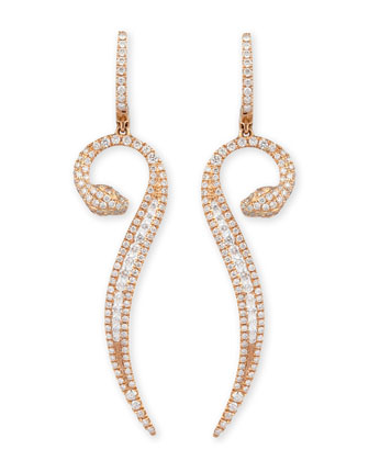 18k Rose Gold Diamond Snake Earrings