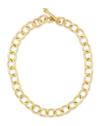 Hammered 19k Volterra Link Necklace, 17