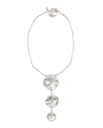 Serenity Silver Diamond & Floral Drop Necklace