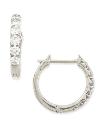 18k White Gold Pave Diamond Hoop Earrings, 17mm