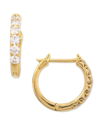 18k Yellow Gold Pave Diamond Hoop Earrings