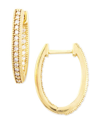18k Yellow Gold Oval Pave Diamond Hoop Earrings