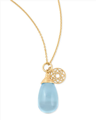Mogul Small Blue Topaz Drop Pendant Necklace