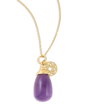 Mogul Small Amethyst Drop Pendant Necklace