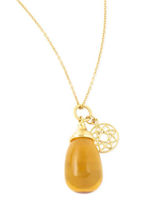 Mogul Small Citrine Drop Pendant Necklace
