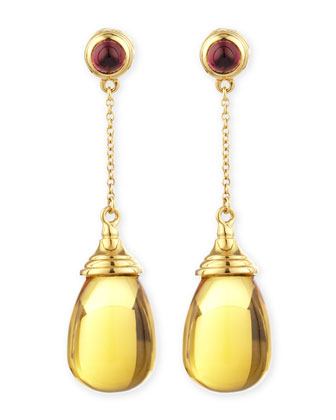 Mogul 18k Citrine Chain Drop Earrings