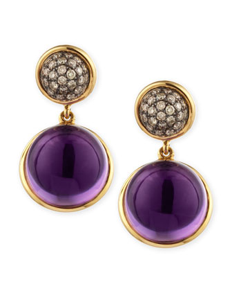 Baubles Big Diamond & Amethyst Earrings