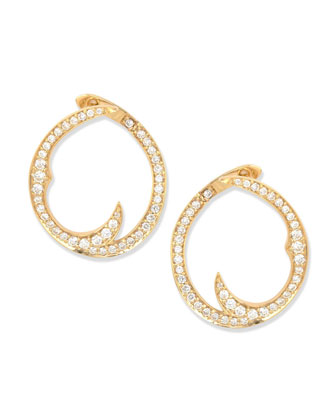 Pave Diamond Thorn Single Hoop Earrings