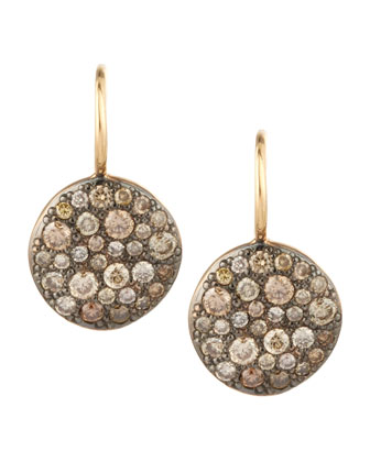 Sabbia Brown Pave Diamond Earrings, 0.78 TCW
