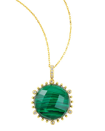 Tivoli Diamond & Malachite Pendant Necklace, 17