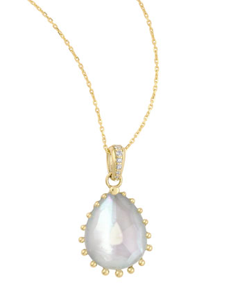 Tivoli Diamond & White Mother-of-Pearl Teardrop Necklace, 17