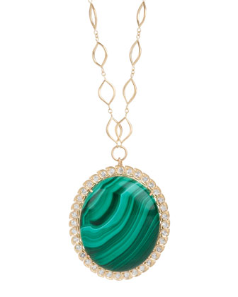 Aladdin Edged Oval Pendant Necklace with Malachite and White Topaz