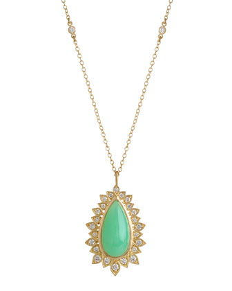 Aladdin Pear Pendant Necklace with Chrysoprase and Diamonds