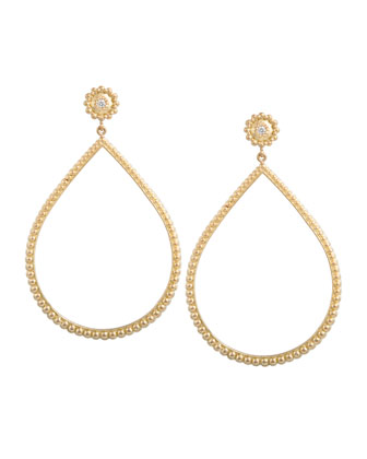 Beaded Open Pear Earrings with Diamonds