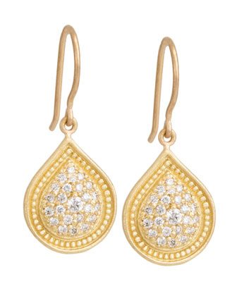 Bohemian Pave Pear Earrings with Diamonds