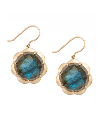 Large Scallop Drop Earrings with Labradorite