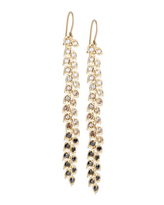 Long Vine Earrings with Black, White, and Cognac Diamonds