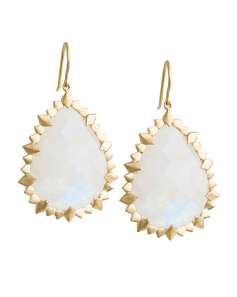 Marquise Edge Pear Earrings with Rainbow Moonstone