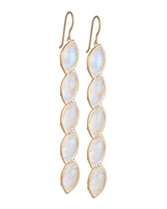 Marquise Long Leaf Earrings with Rainbow Moonstone