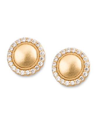 Diamond-Scalloped-Edge Stud Earrings, 0.26 TCW
