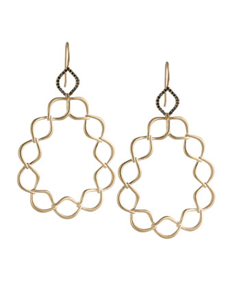 Woven Aladdin Link Pear Earrings with Black Diamonds