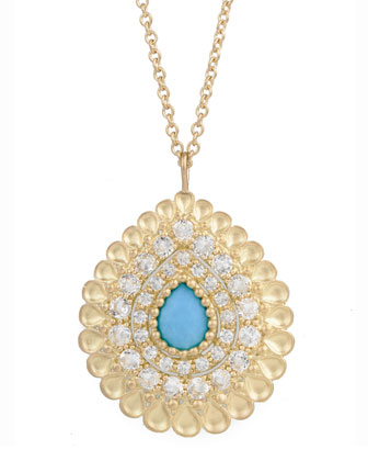 Peacock Pear Pendant Necklace with Turquoise and White Topaz