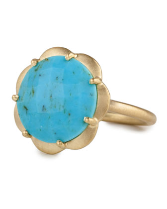Large Turquoise Scallop Ring, Size 7