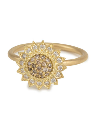 Small Sunflower Ring with Cognac and White Diamonds, Size 7