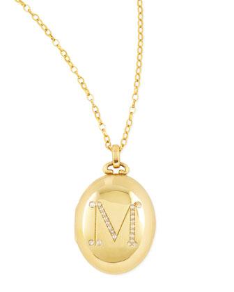 Bespoke Pave Diamond Initial Gold Locket Necklace