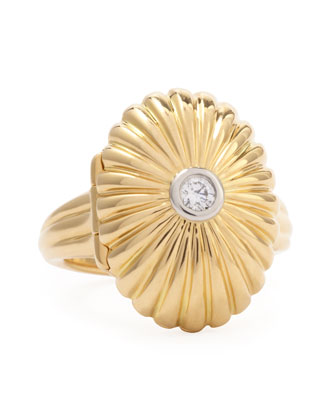 18k Gold Scalloped Secret Ring with Diamond