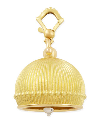 18k #6 Ridged Meditation Bell Pendant, 19mm