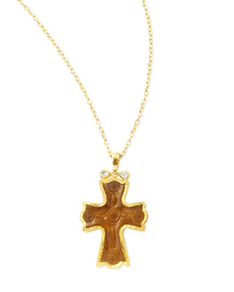 14k Gold Cognac Quartz Cross Necklace
