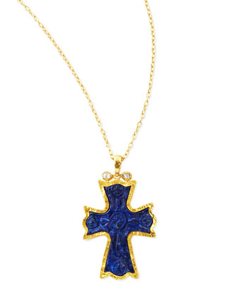 14k Gold Blue Lapis Cross Necklace
