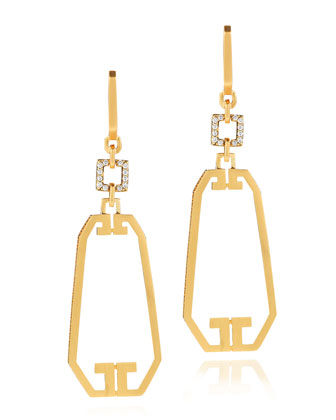 Metropolis 18k Open Long Octagon Diamond Earrings