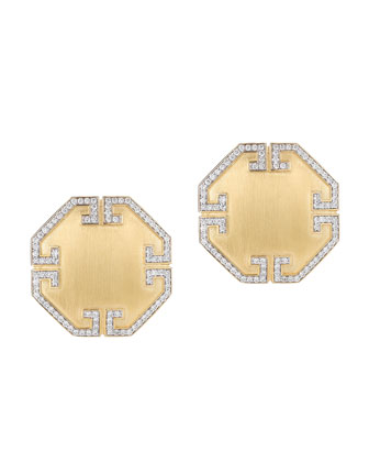 Metropolis 18k Octagon Diamond Button Clip Earrings