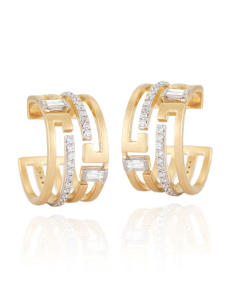 Metropolis 18k Diamond Geometric Hoop Earrings